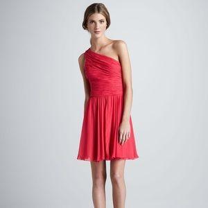 Halston Heritage Coral One-Shoulder Dress